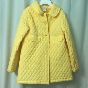 Gymboree Bright yellow quilted coat, size 8